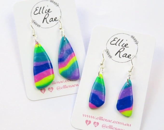 Rainbow Dangle Polymer Clay Earrings
