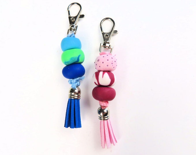Polymer Clay Beaded Keychains | Cute Bead Tassel Pink Blue Marble Key Rings