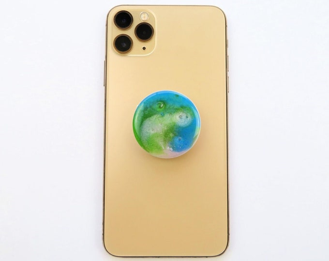 Green White and Blue Poured Resin Pop Socket