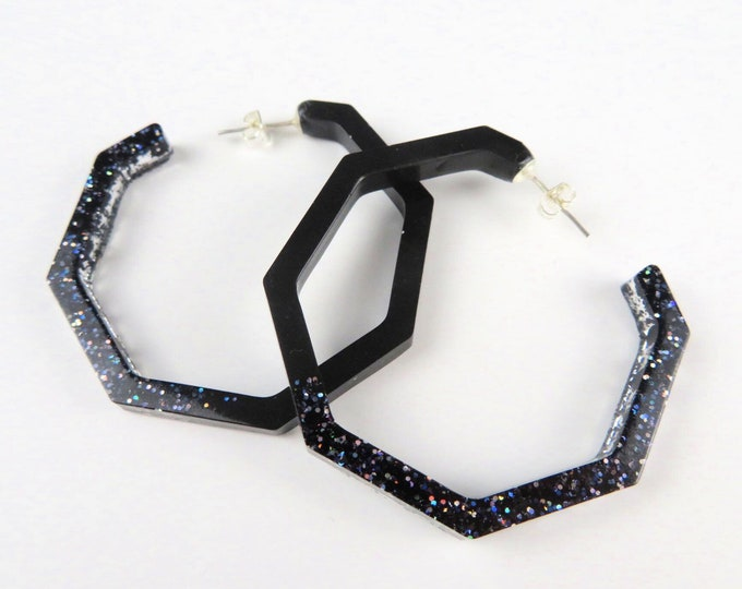 Black Glitter Hoop Resin Earrings