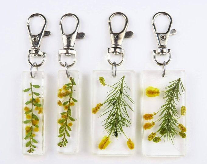 Yellow Wattle Pressed Flower Resin Key Chain