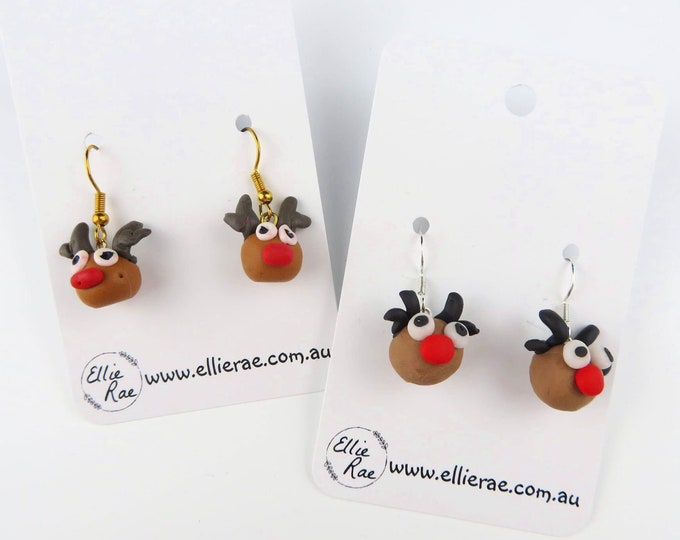 Reindeer Polymer Clay Dangle Christmas Festive Earrings