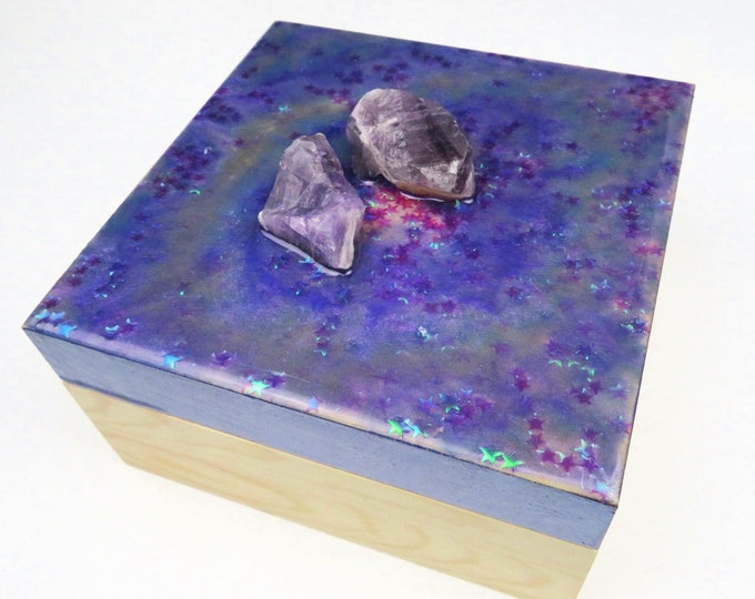 Purple Resin Pigment and Glitter Topped Wooden Box with Genuine Amethyst Crystal Handle