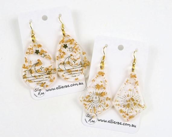 Celestial Gold Acetate Design and Gold Foil Flake Resin Dangle Earrings