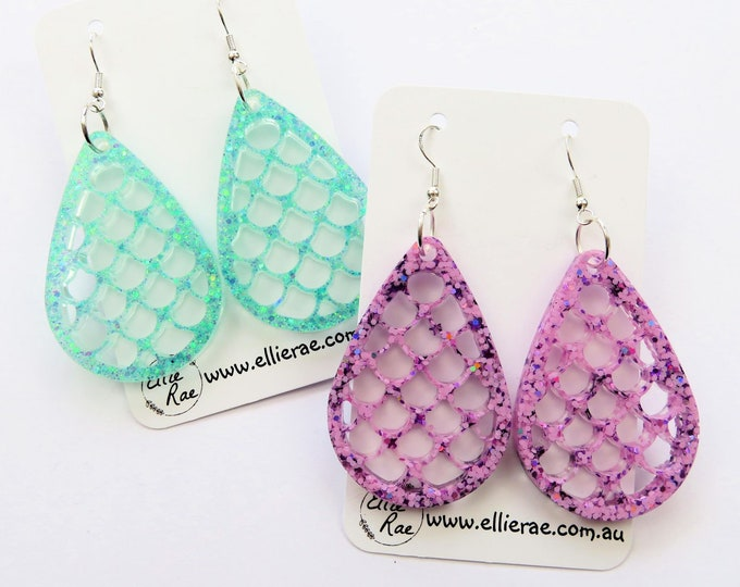 Mermaid Scale Tear Drop Resin Glitter Dangle Earrings