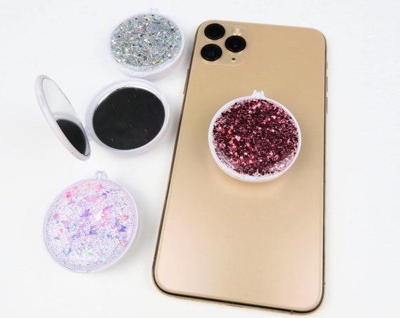 Mixed Glitter Compact Mirror Phone Grip