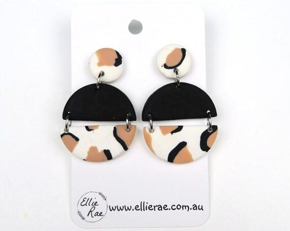 Brown Animal Print Semi Circle Polymer Clay Dangle Stud Earrings