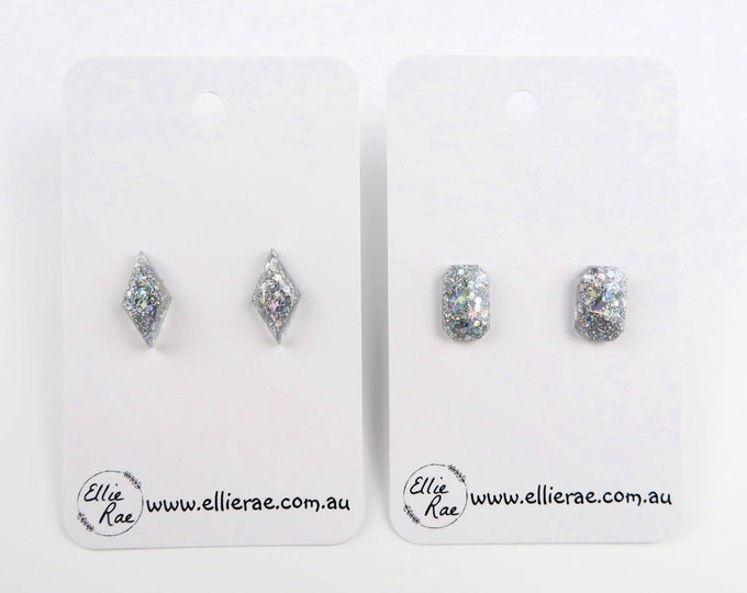 Silver Chunky Glitter Resin Stud Earrings