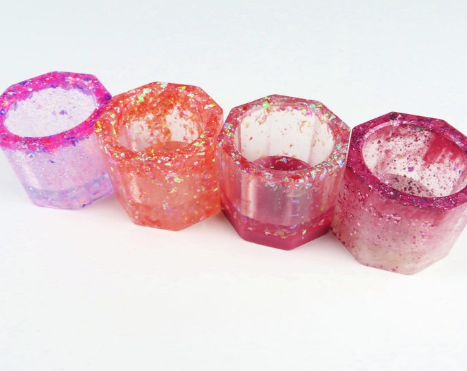 Pink Glittery Resin Tea Light Candle Holders