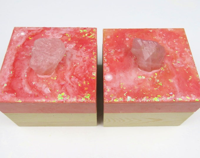 Pink Resin Pigment and Glitter Topped Wooden Box with Genuine Rose Quartz Crystal Handle