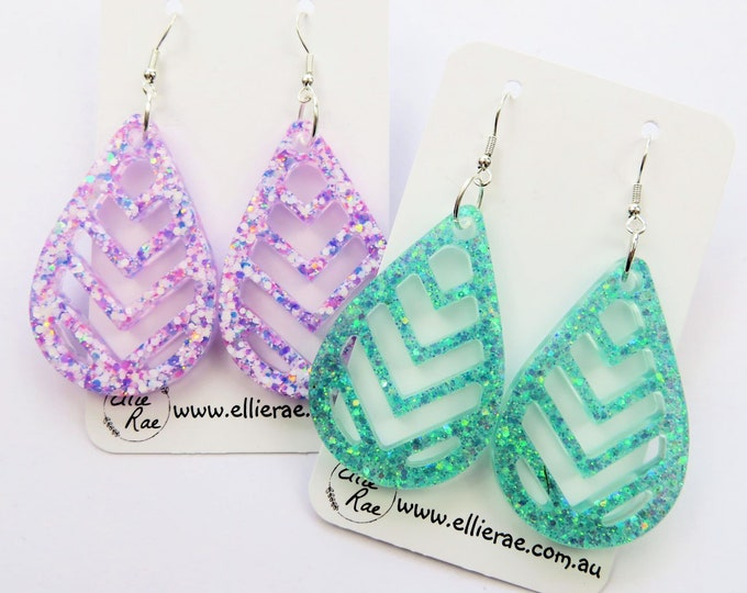 Chunky Glitter Resin Statement Bold Dangle Earrings