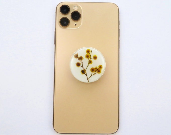 Yellow Wattle Pressed Flower Resin Pop Sockets
