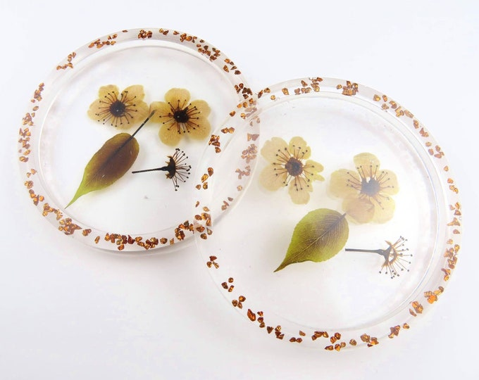 Brown Pressed Flower Clear Resin Coasters