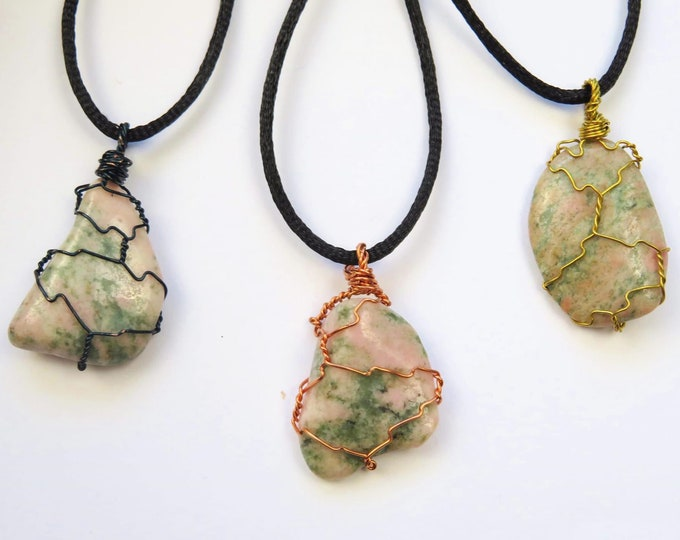 Thulite Wire Wrapped Genuine Crystal Gemstone Pendant Necklace