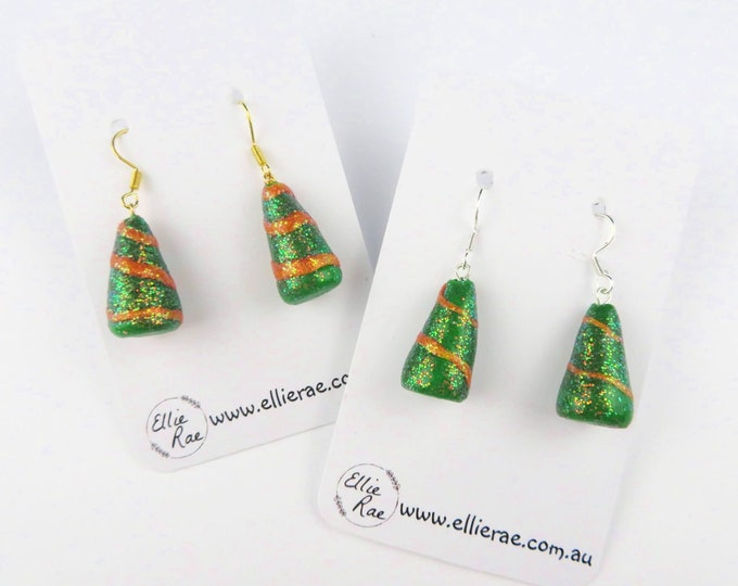 Christmas Tree Polymer Clay Dangle Christmas Festive Earrings