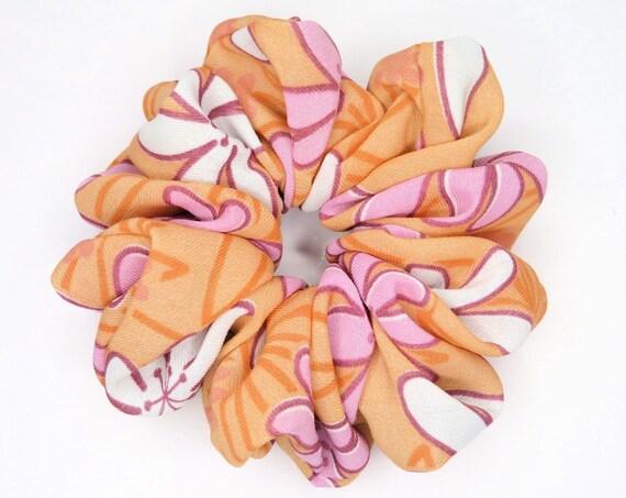 Funky Peach Floral Scrunchie
