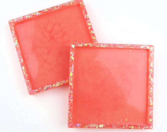 Pink and Iridescent Glitter Square Coasters