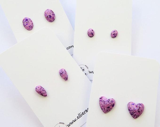 Pink Purple Chunky Glitter Resin Stud Earrings
