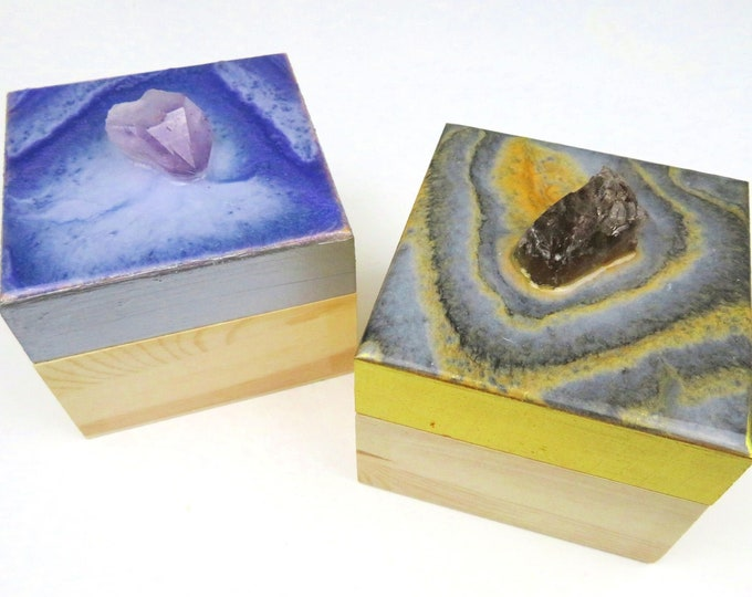 Purple, Black and Gold Resin Pigment and Glitter Topped Wooden Box with Genuine Amethyst  and Smokey Quartz Crystal Handle