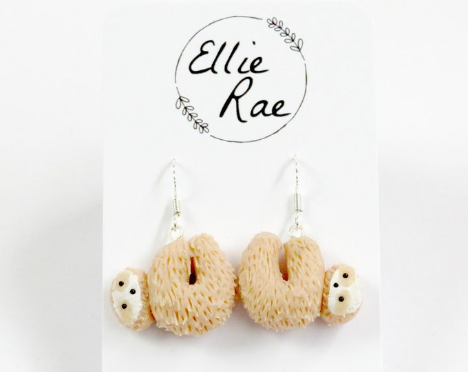 Light Caramel Polymer Clay Sloth Earrings