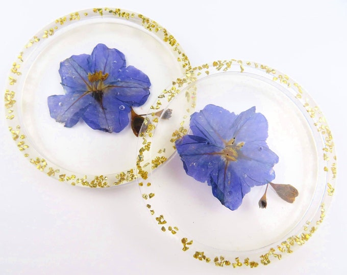 Purple and Gold Pressed Flower Clear Resin Coasters