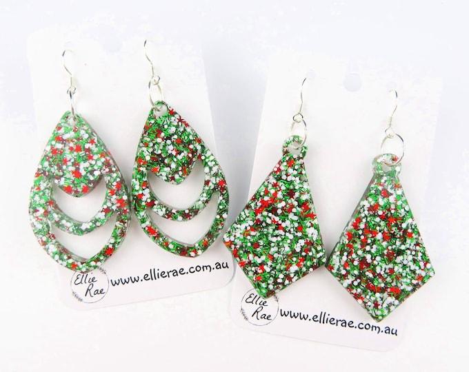 Green Holly Christmas Chunky Glitter Dangle Earrings