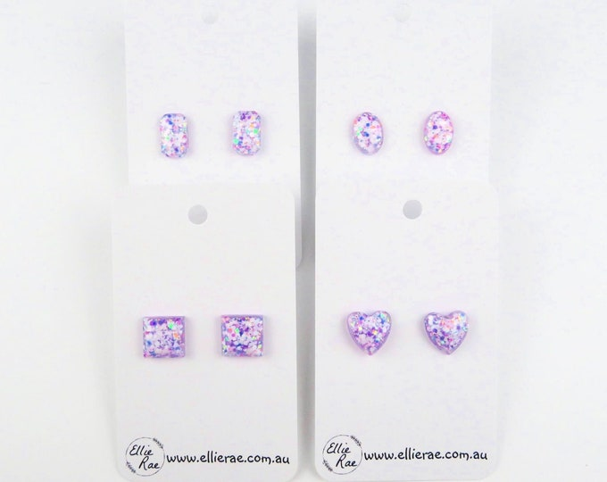 Light Purple Berry Glitter Resin Stud Earrings