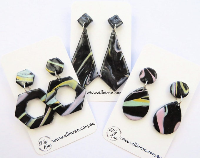 Black and Pastel Marbled Polymer Clay Dangle Stud Earrings