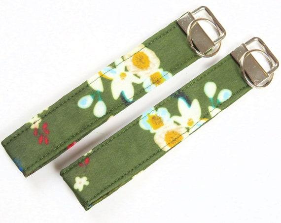 Khaki Green Floral Cotton Key Fob Wristlet Key Chain