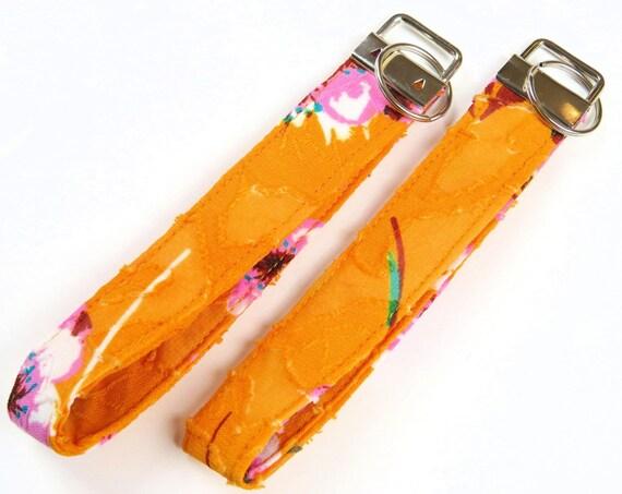 Mustard Floral Pattern Cotton Key Fob Wristlet Key Chain