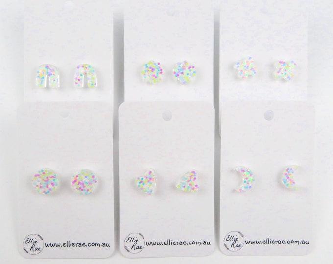 Large White Pastel Chunky Glitter Resin Stud Earrings