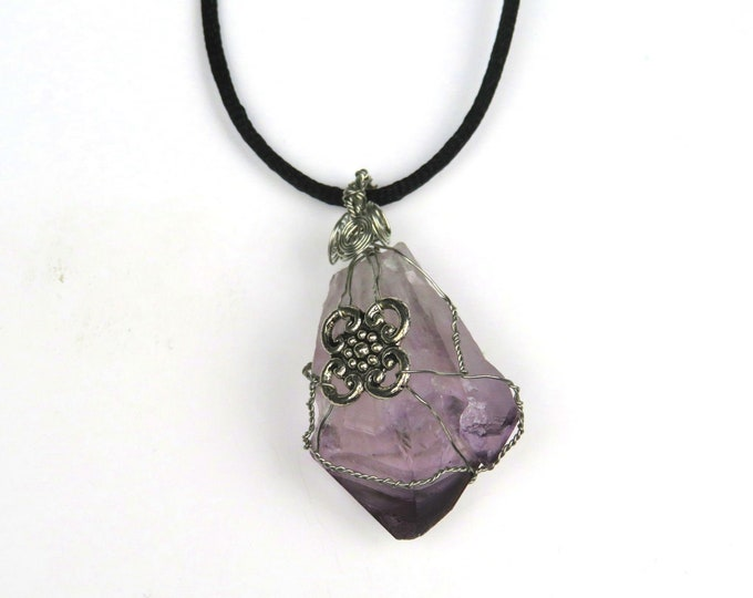 Large Amethyst Wire Wrapped Crystal Gemstone Pendant Necklace