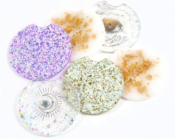 Glitter Resin Car/Cup Holder Coasters