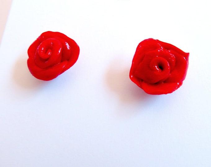 Red Rose Clay Stud Earrings