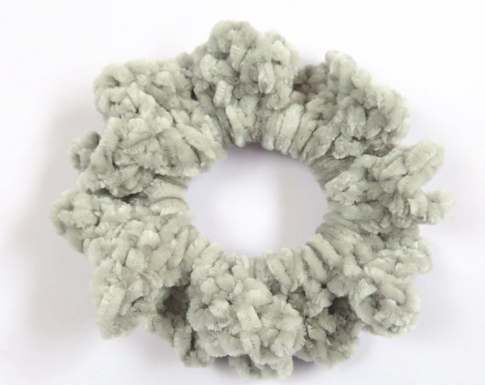 Light Grey Crochet Scrunchie