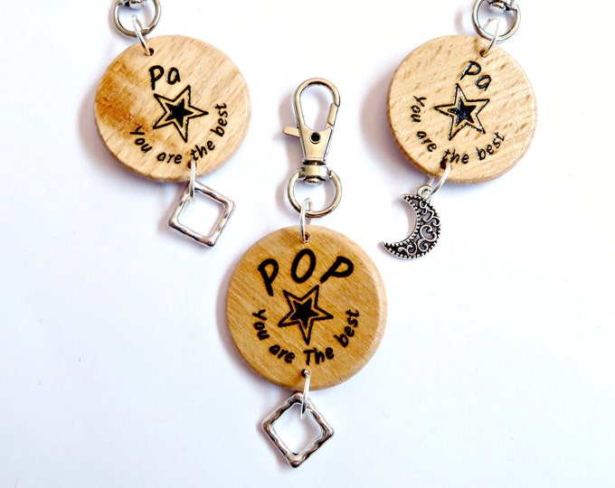 "Wooden ""Pa"" and ""Pop"" Keychain"