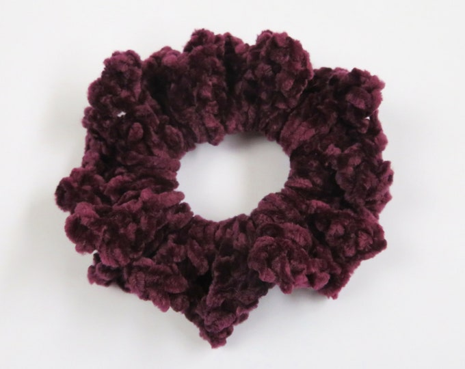 Deep Red Crochet Scrunchie