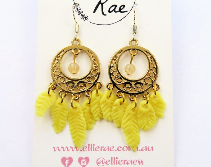 Gold and Yellow Feather Dream Catcher with Mini Crystal Gemstone Dangle Earrings