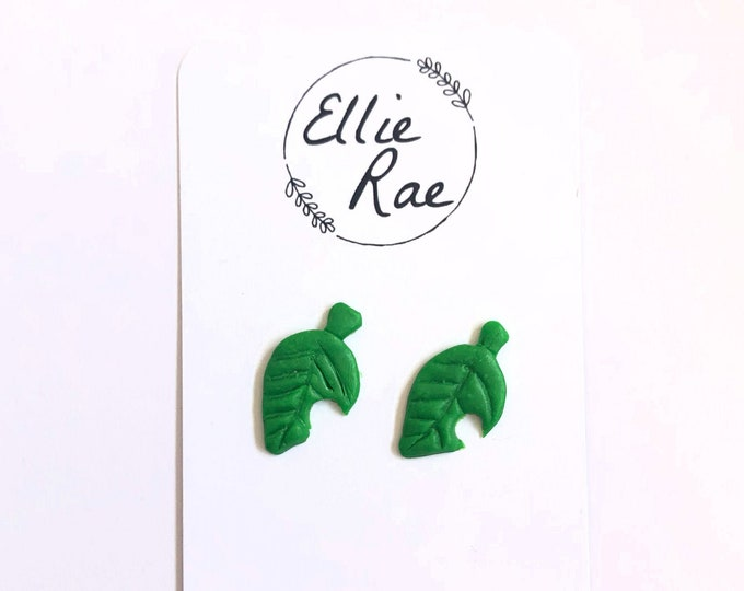 Animal Crossing Leaf Item Stud Earrings