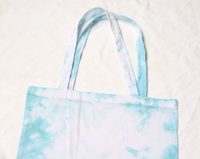 Teal Tie Dye Tote Bag | Turquoise Scrunch Dyed Shopping Bag