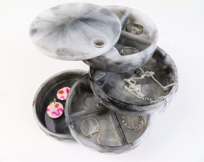 Black and White Marbled Rotating Tiered Round Spinning Jewellery Trinket Box
