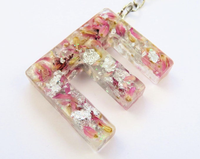 Resin Letter Keychains with Silver Foil and Pink and White Dried Flowers