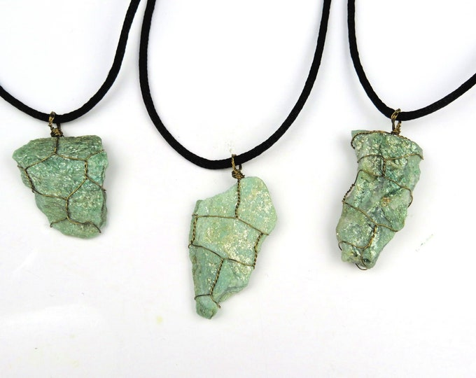 Fuchsite Wire Wrapped Crystal Gemstone Pendant Necklace
