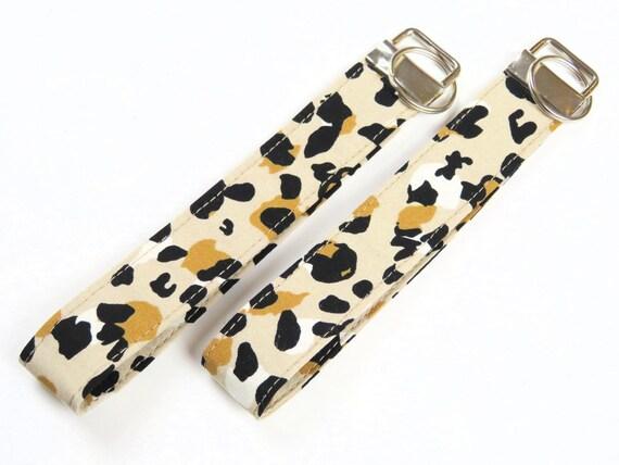 Beige Animal Print Pattern Cotton Key Fob Wristlet Key Chain