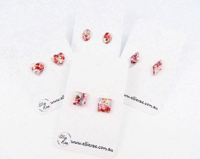 White Christmas Chunky Glitter Stud Earrings