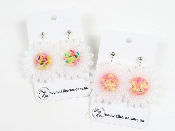 Flower Resin Dangle Stud Earrings
