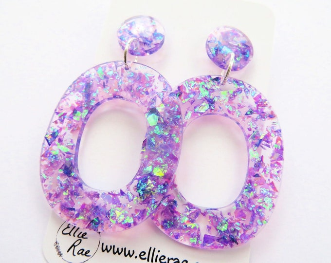 Purple Iridescent Chunky Flake Glitter Resin Stud Dangle Bold Statement Earrings