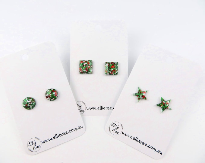 Green Holly Christmas Chunky Glitter Stud Earrings