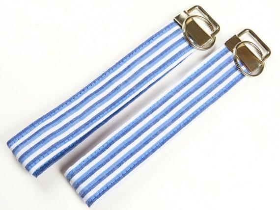Blue and White Sailor Stripe Pattern Cotton Key Fob Wristlet Key Chain