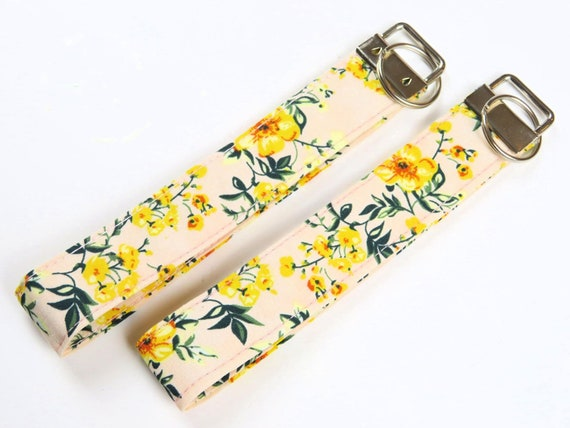 Pink and Yellow Floral Pattern Cotton Key Fob Wristlet Key Chain
